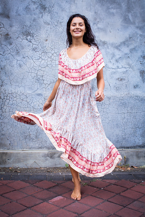 Women Resort Wear Clothing 2020 - D41063B Peach Print