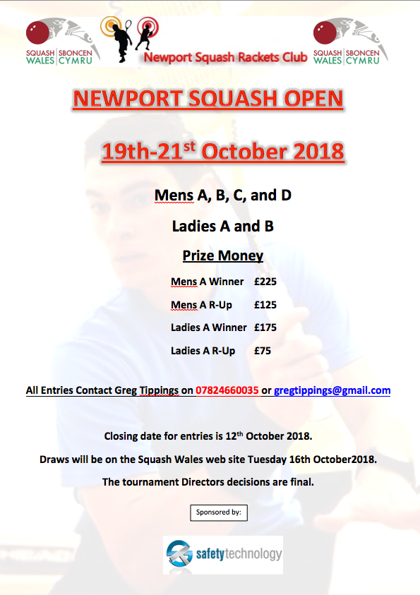NEWPORT SQUASH OPEN 19th-21st October 2018