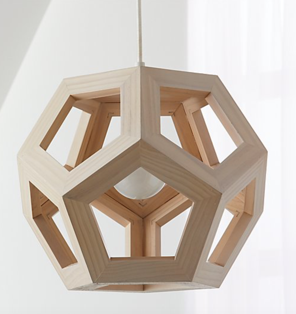 wood hexagon pendant