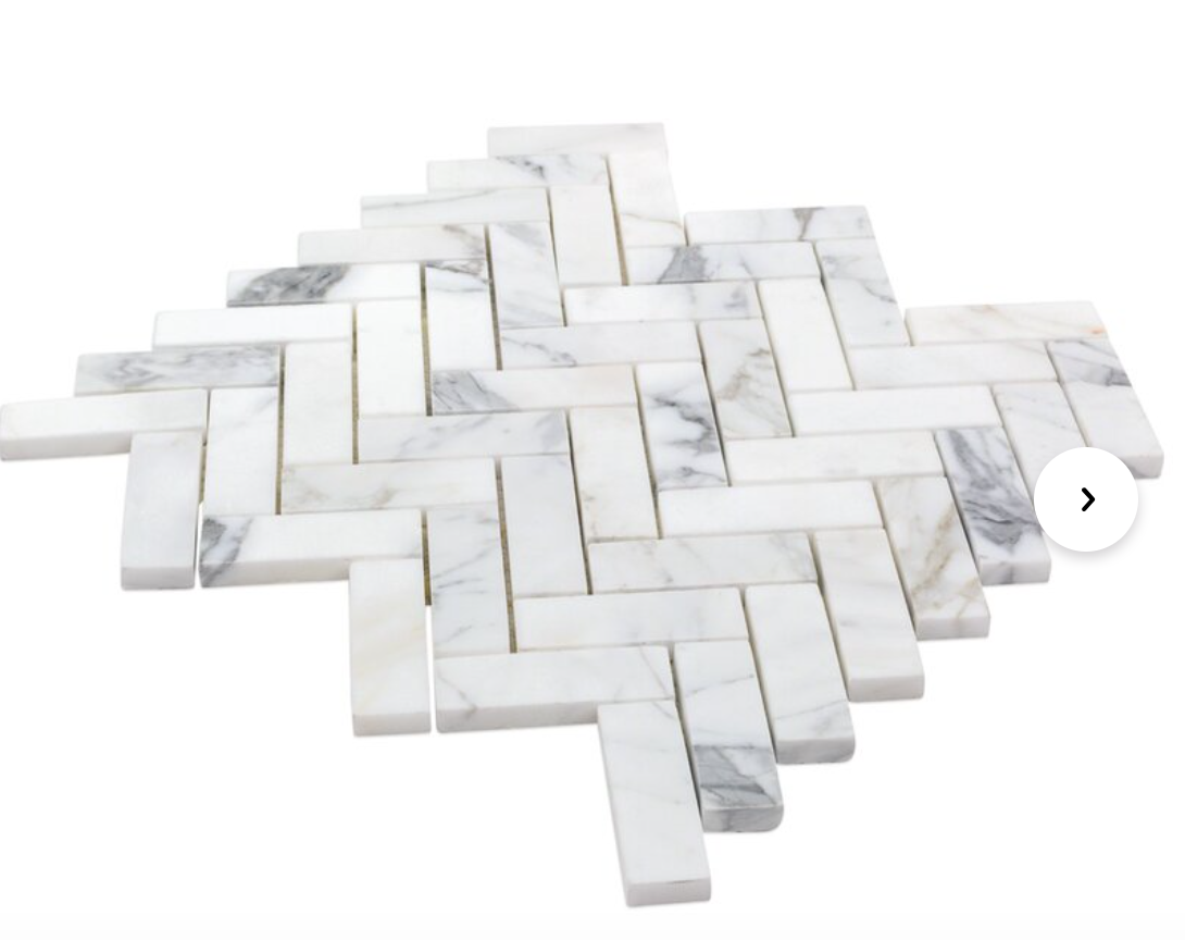 "1"" x 3"" Marble Mosaic Tile in White/Grey"
