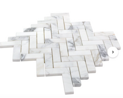 """1"""" x 3"""" Marble Mosaic Tile in White/Grey"""