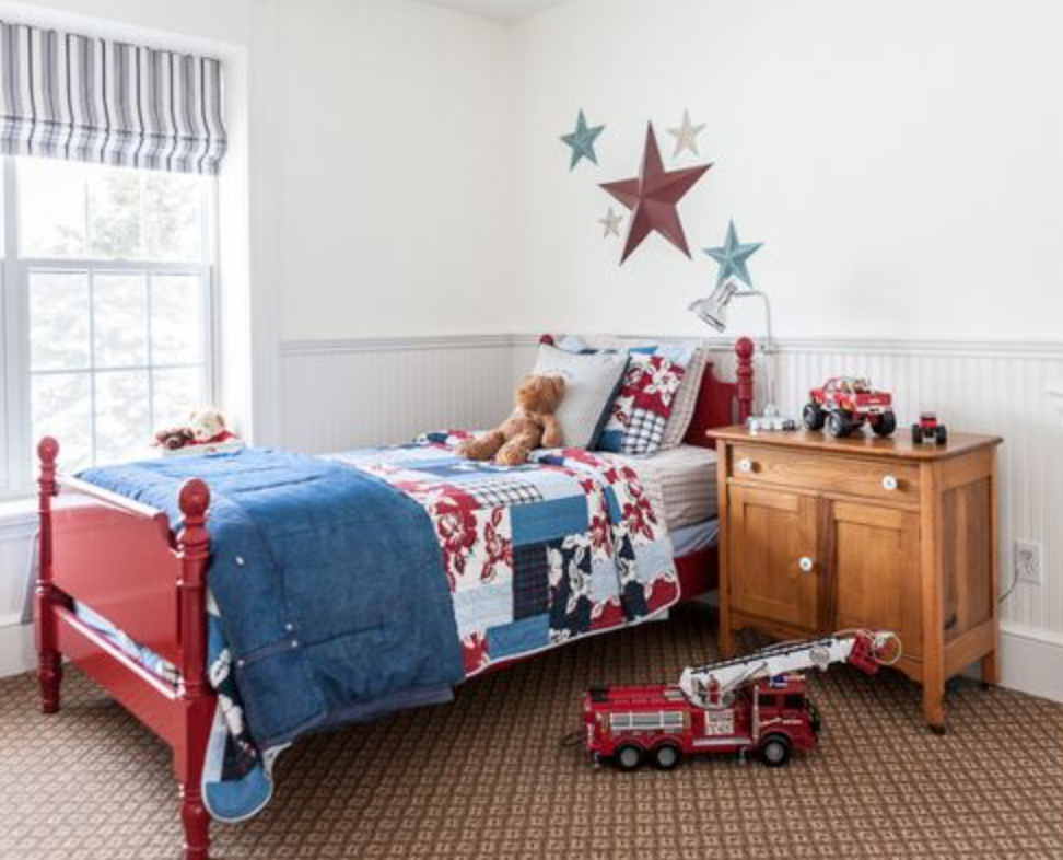 Denim and red colour in kids room, country style