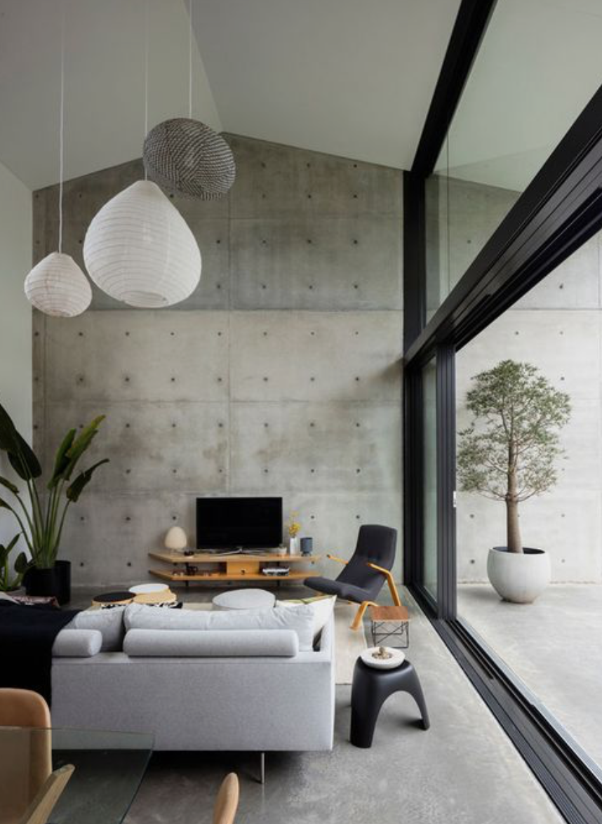 Concrete wall tiles 2019 house trend