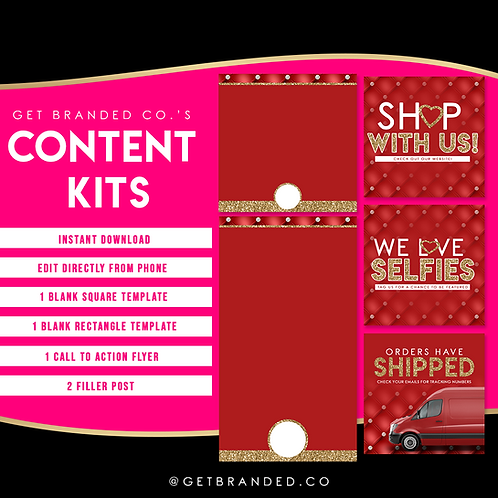 Red & Gold Tufted | Content kit (5)