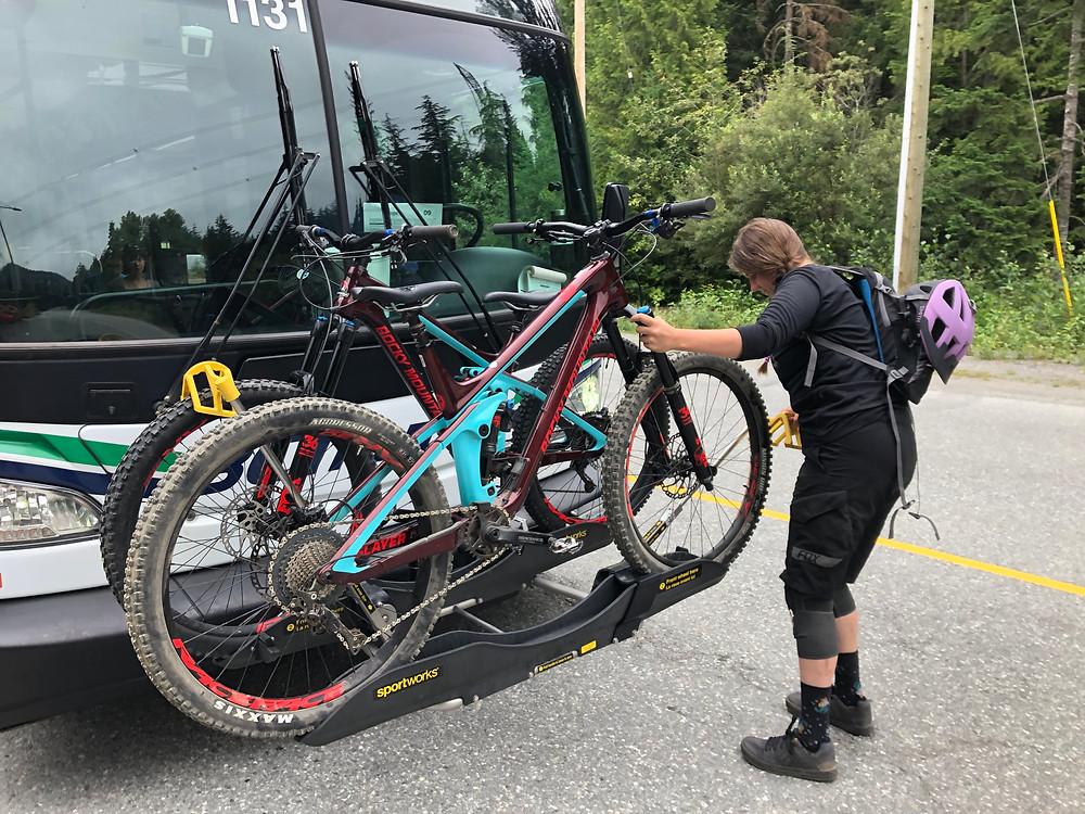 Using bus bike racks to shuttle between MTB trails in BC.