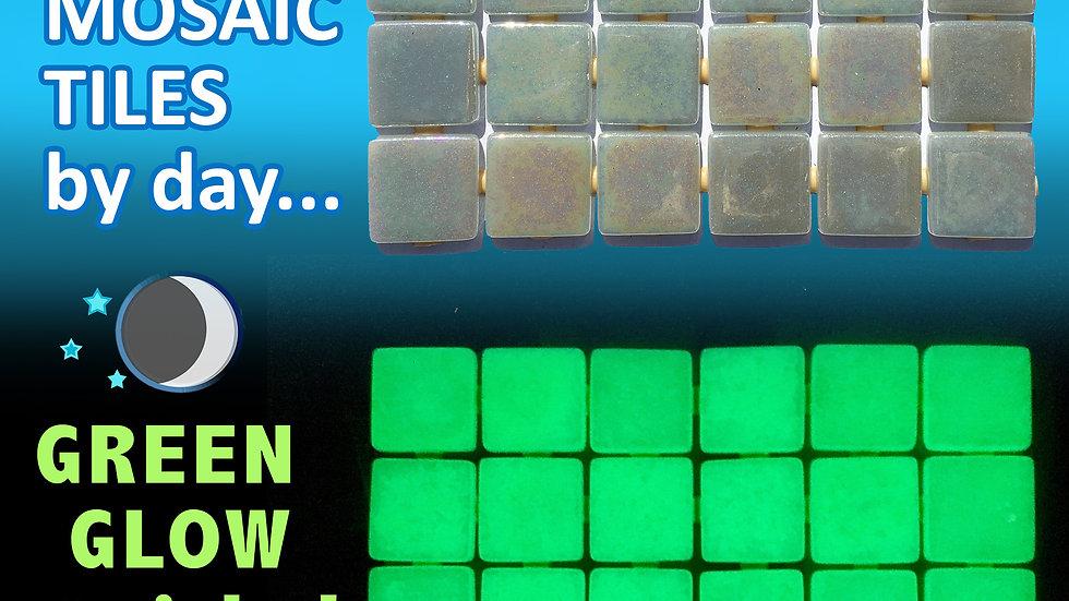 Ezarri Fosfo: Grey 'Iris' range, Glow in the Dark glass mosaic tiles