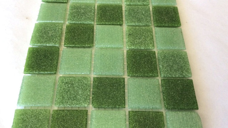 Bisazza Vetricolour: 75 Tiles Forest Greens Blend