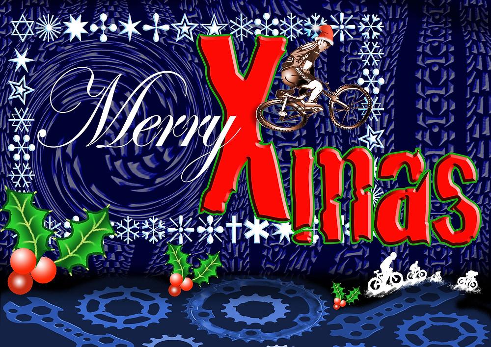 Whip-off mtb rider Christmas card artist original