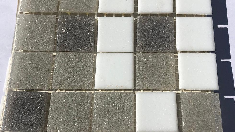 Bisazza Vetricolour: 75 GREY and WHITE blended mosaic tiles