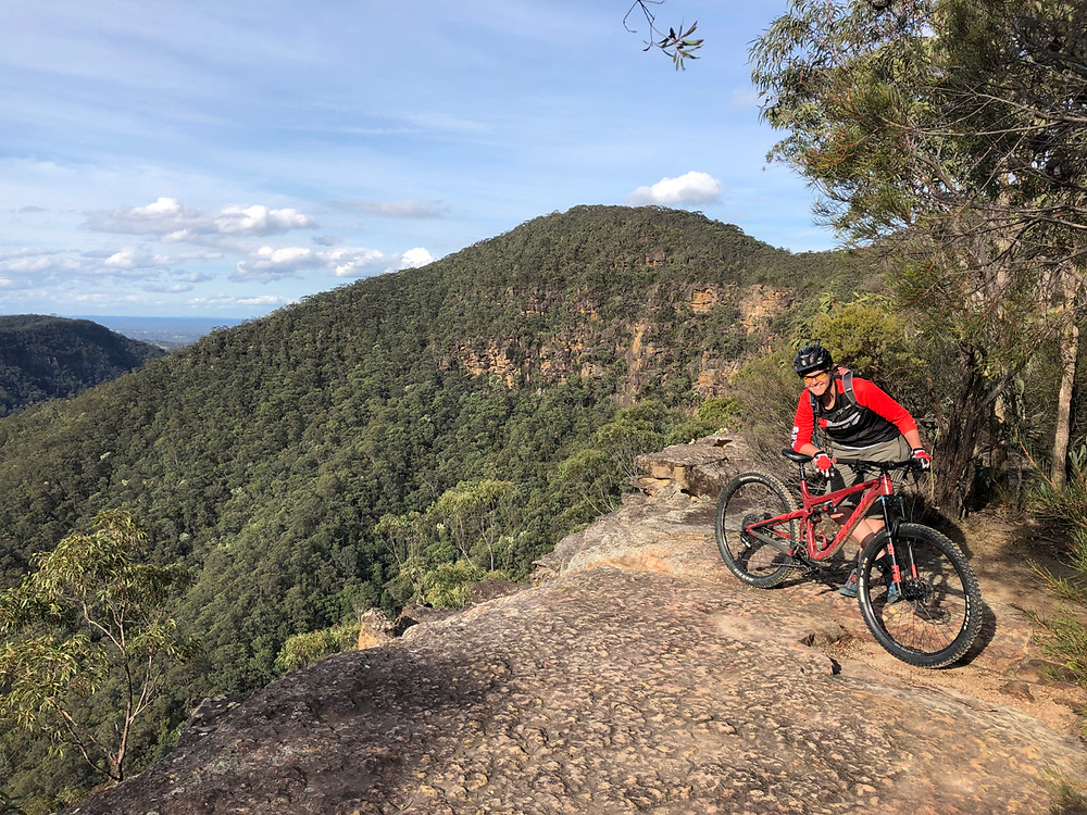 MTB rider and writer Susanna Mills at the Grose Head South lookout in Springwood.