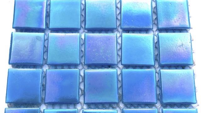 25pcs: Aqua Blue irridised on mesh