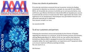 COVID-19 : AAI adopte des mesures - IAA takes actions