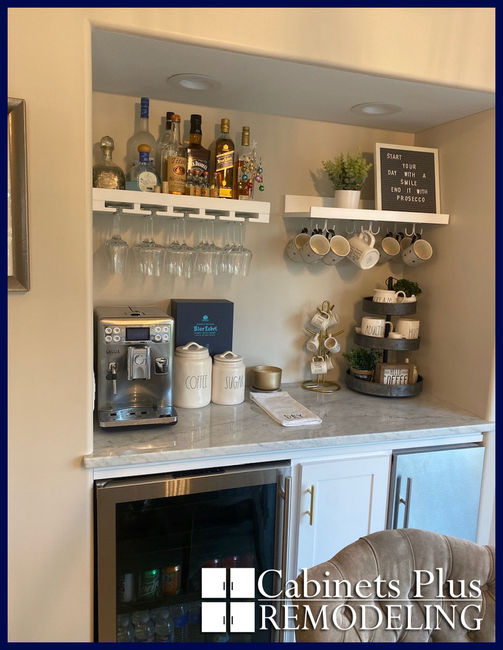 White Shaker Custom Bar