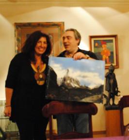 Mi pintura y yo  con el  genial pintor C