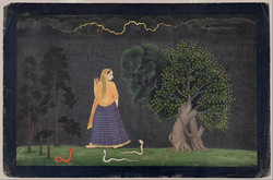A painting of a feminine figure wearing a blue skirt and yellow top and veil painted with their back