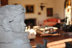 Angel statue in the living room.