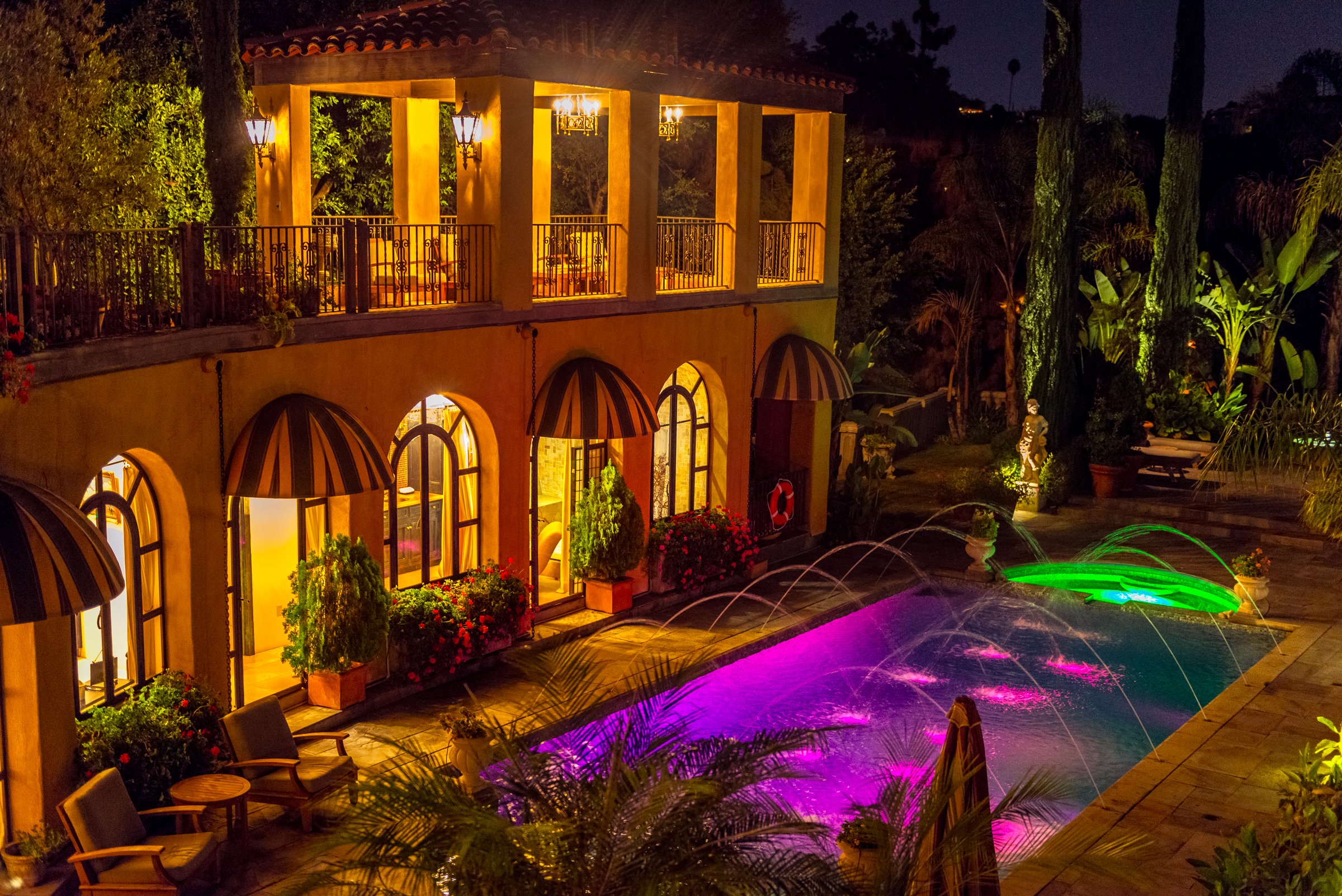 Romantic L.A. Guest House at Night