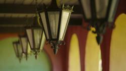 Loggia lanterns light your way.