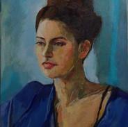 'Olivia in Blue Silk'
