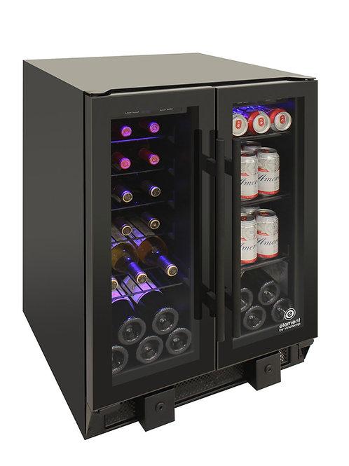 2 Black Glass French Doors wine/bev black, 24 inch