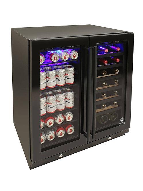 Black Glass Door 30 Inch Wide Wine and Beverage Cooler