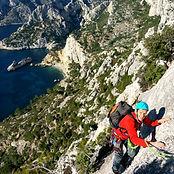 Grande voie d'escalade sportive, en terr