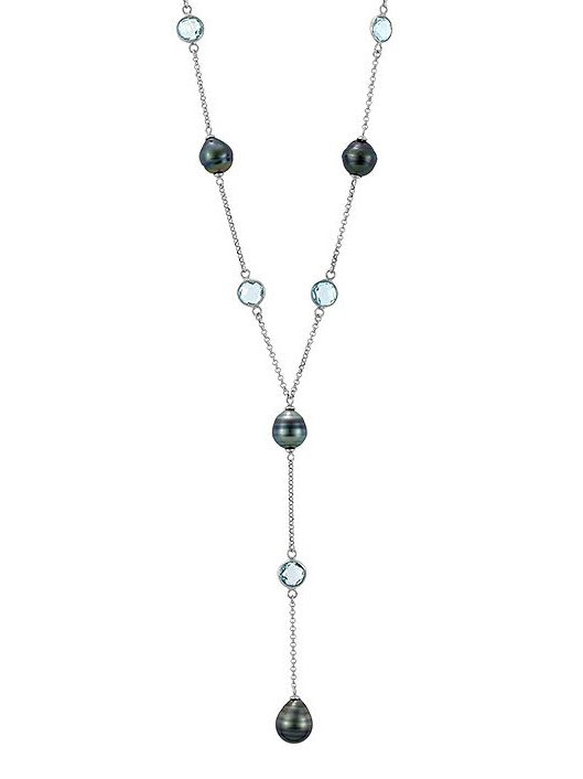 Sterling Silver 10-11mm Tahitian Pearl & Blue Topaz Lariat
