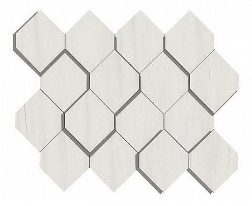 Bianco Dolomite Mosaico Esagono 3D