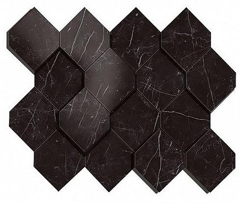 Nero Marquina Mosaico Esagono 3D