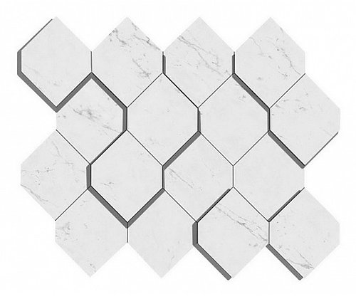Carrara Pure Mosaico Esagono 3D