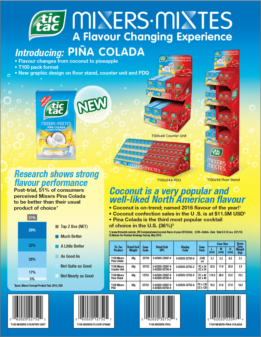 Tic Tac Mixers Pina Colada Sell Sheet