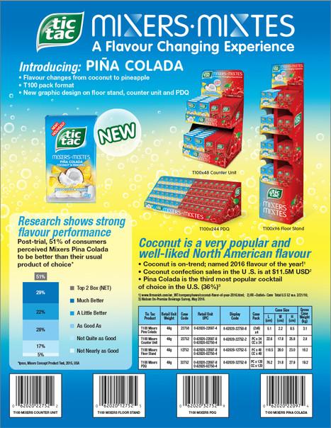 Tic Tac Mixers Pina Colada Sell Sheet