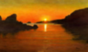 sunset beach scene mounted print