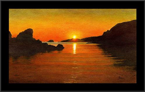"Spiggie Sunset (Peerie Spiggie) 6x9"" Frame/108x190mm Print"