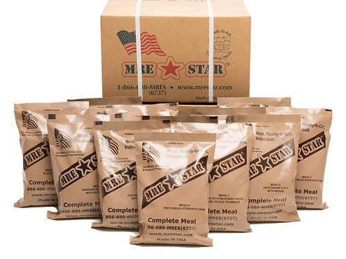 MRE STAR M-018 MRE Meal Ready to Eat Full Case 12 With Heaters