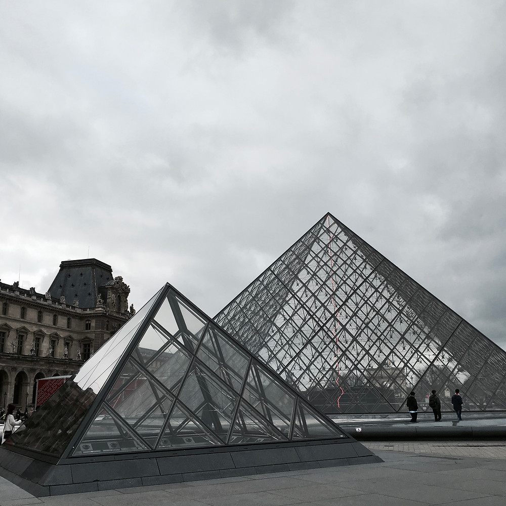 Paris - France - Eiffel Tower - The Lourve Triangle Pyramids