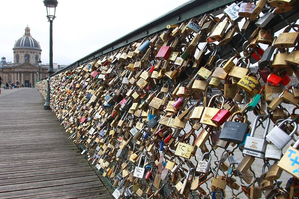 Paris - France - Eiffel Tower - Pont des Arts love romantic locks