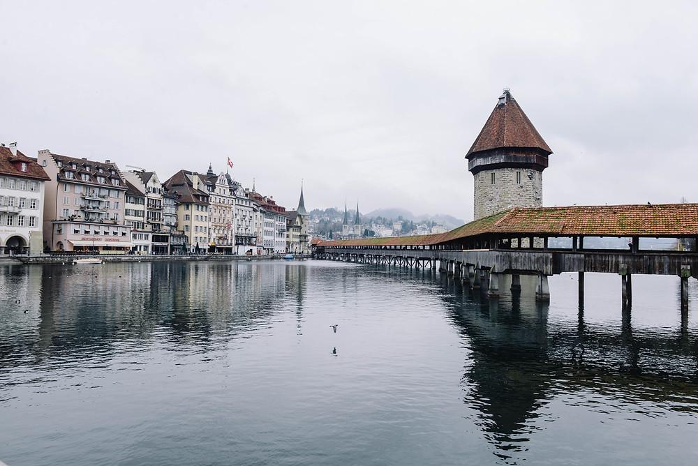 Switzerland - Swiss Alps - Lucerne river jetty view