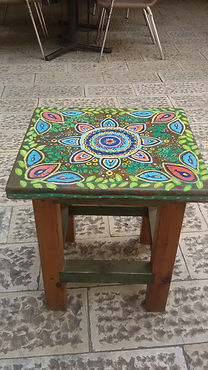 High hand painted stool