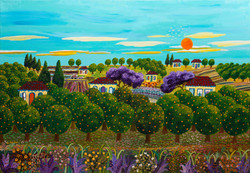 Rehovot's Citrus Groves-naive art