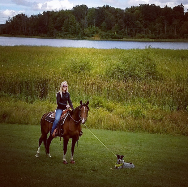Caitlyn with her mare, Sasha and her pup, Waylon