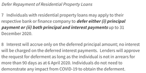 MAS mortgage deferment