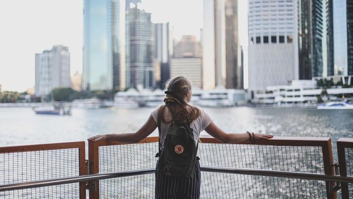 Kelsey standing at the Peir at Kangaroo Point