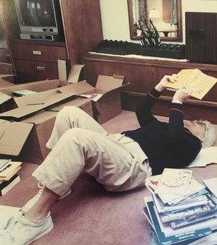 A once in a lifetime photo! This picture was taken at the White House during the last few weeks of the Bush's administration. Barbara Bush, the first lady of the White House while taking some time off from packing boxes, relaxed and read a book from the White House library. That book was the Fun Book of Fatherhood.