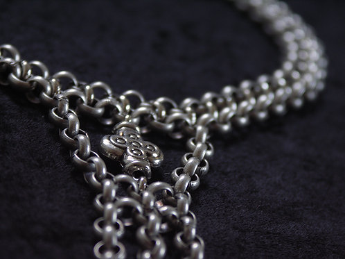 Chunky Silver Necklace with Drop Chain Cross | impulsiva Jewelry