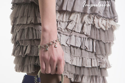 Ring chain bracelet with semi precious stones | Impulsiva Jewelry