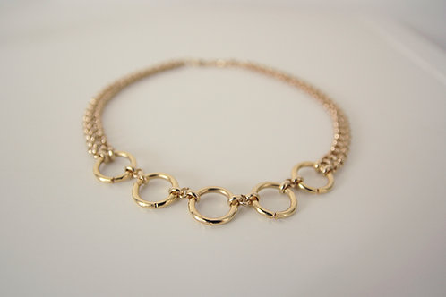 Five hoops gold plated choker