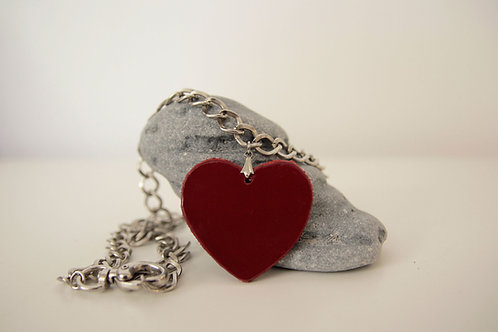 Red heart necklace, Short silver chunky necklace with leather pendant