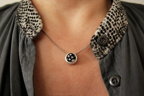 Silver tiny circle pendant necklace with leather