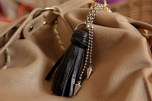 Leather Tassel Keychain in Black with Metal Spikes | Impulsiva Jewelry